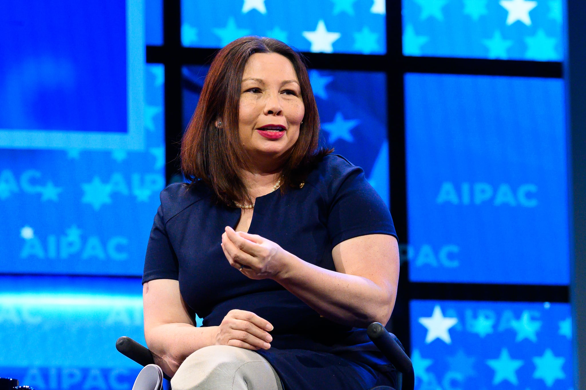 WASHINGTON, DC, UNITED STATES - 2019/03/25: U.S. Senator Tammy Duckworth (D-IL) seen speaking during the American Israel Public Affairs Committee (AIPAC) Policy Conference in Washington, DC. (Photo by Michael Brochstein/SOPA Images/LightRocket via Getty Images)