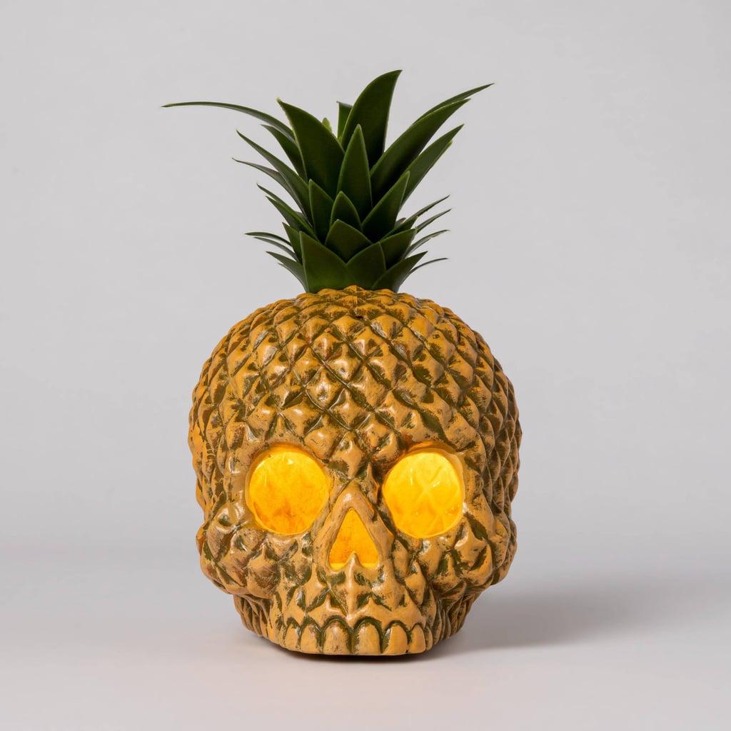 Light-Up Pineapple Skull Halloween Prop