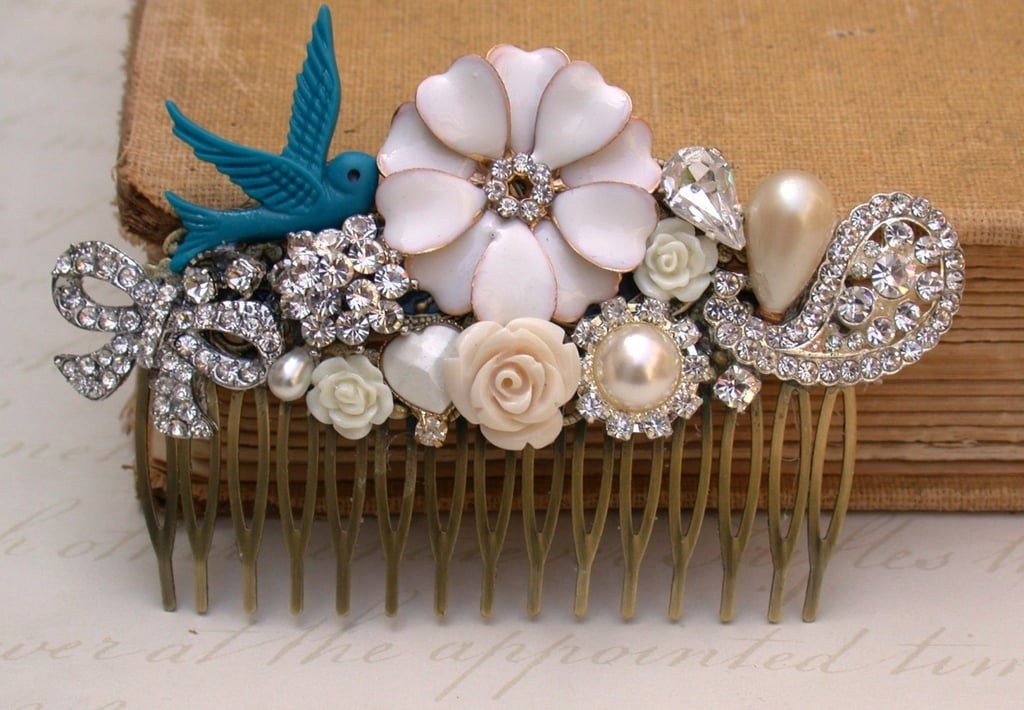 Wear your something old and something blue with this vintage bird hair comb ($89).