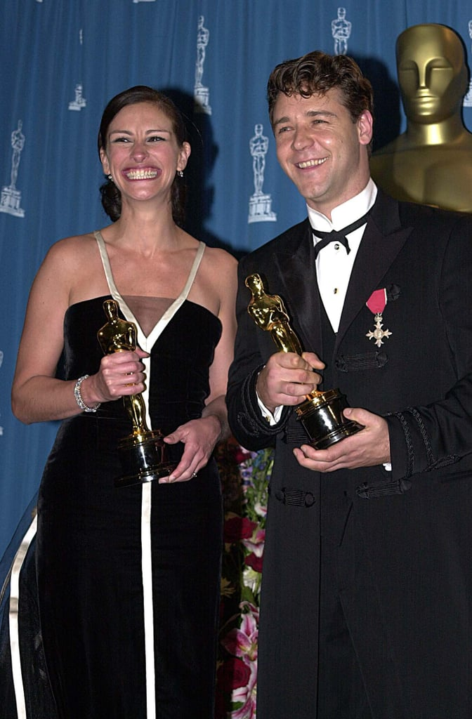 Her grin couldn't be contained after she won the Best Actress Academy Award for her role in Erin Brockovich; she posed backstage with an equally smiley Russell Crowe in 2001.