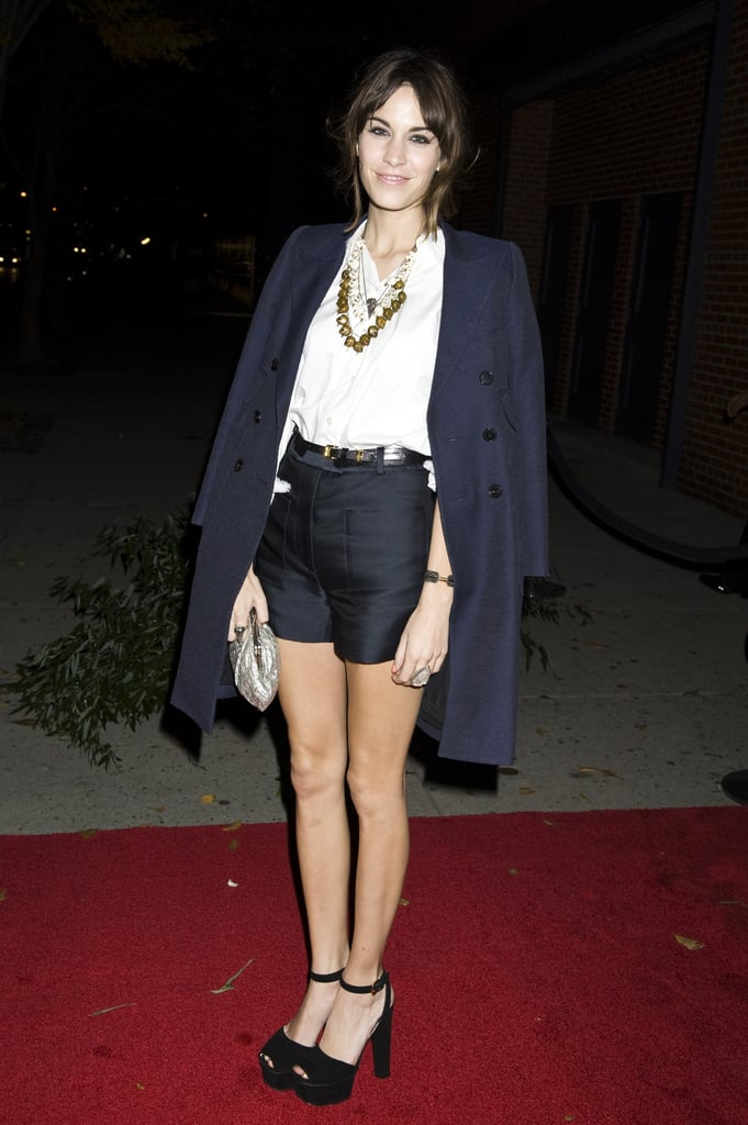 Black tailored shorts get the navy coat treatment.