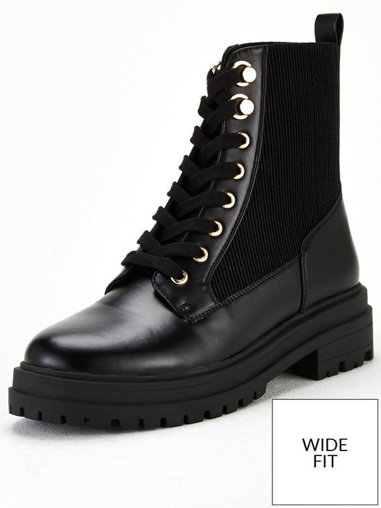V by Very Wide Fit Foster Lace Up Boot
