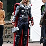 Chris Hemsworth carried his hammer as Thor.