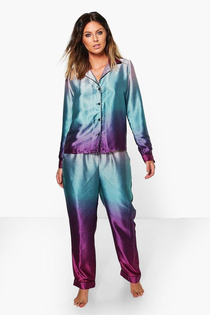 Tia Mermaid Print Satin Night Shirt + Trouser Set ($18, originally $32)