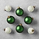 8-Piece Green and Herringbone Ornament Set ($13)