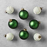 Hearth & Hand With Magnolia 8-Piece Green and Herringbone Ornament Set