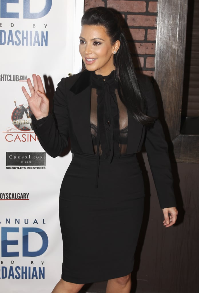 Pregnant Kim Kardashian Goes Sheer For a Party in Canada