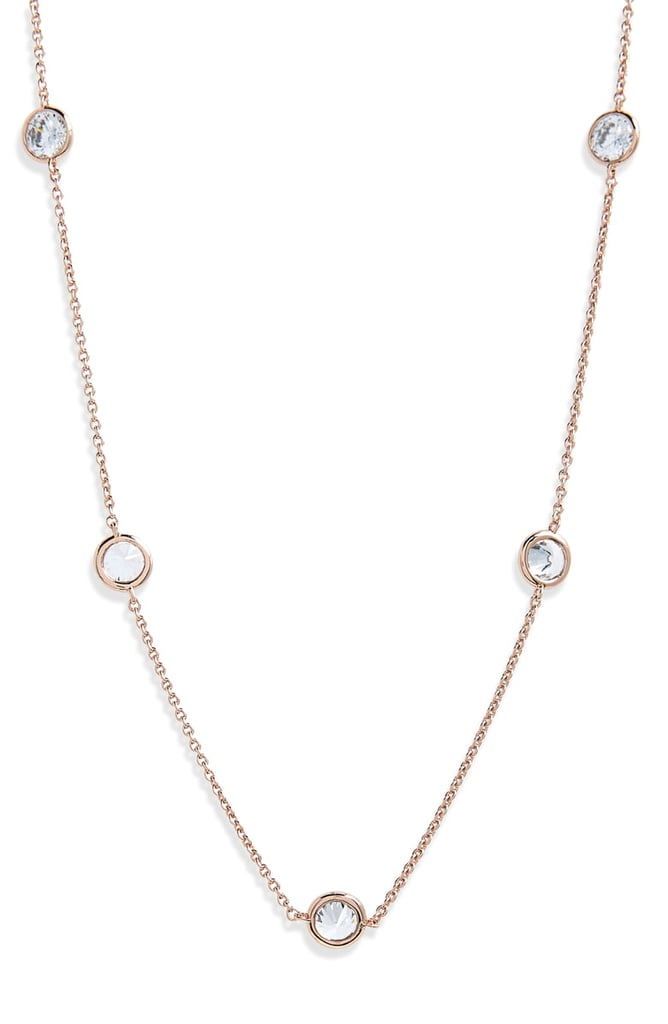 Bezel Stone Station Necklace