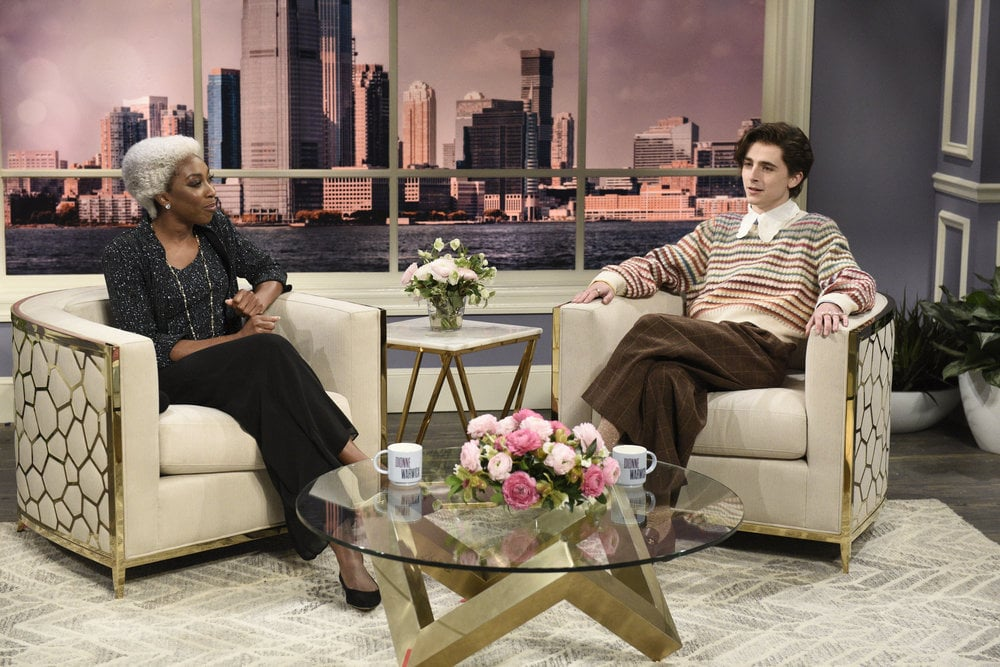 It's no easy task to imitate Harry Styles in attitude or style, but Timothée Chalamet is up for the job. On Dec. 12, the Dune actor stepped into Styles's shoes (well-polished platform loafers, to be exact) for a Dionne Warwick Saturday Night Live skit. A notable style icon on his own, Chalamet looked at home in the oversize sweater and Peter Pan collar reminiscent of the former One Direction member. Although Chalamet hasn't revealed any outfit details, eagle-eyed fans have surmised that a few key items come from Gucci. Makes sense, given Styles is a dedicated wearer of the brand. High-waisted trousers, pearl rings, and patterned socks round out the look — a true homage to the Fine Line artist. Get a closer look at Chalamet's SNL 'fit below.       Related:                                                                                                                                Timothée Chalamet and Pete Davidson Nail the Cringey TikTok Rapper Vibe a Little Too Well