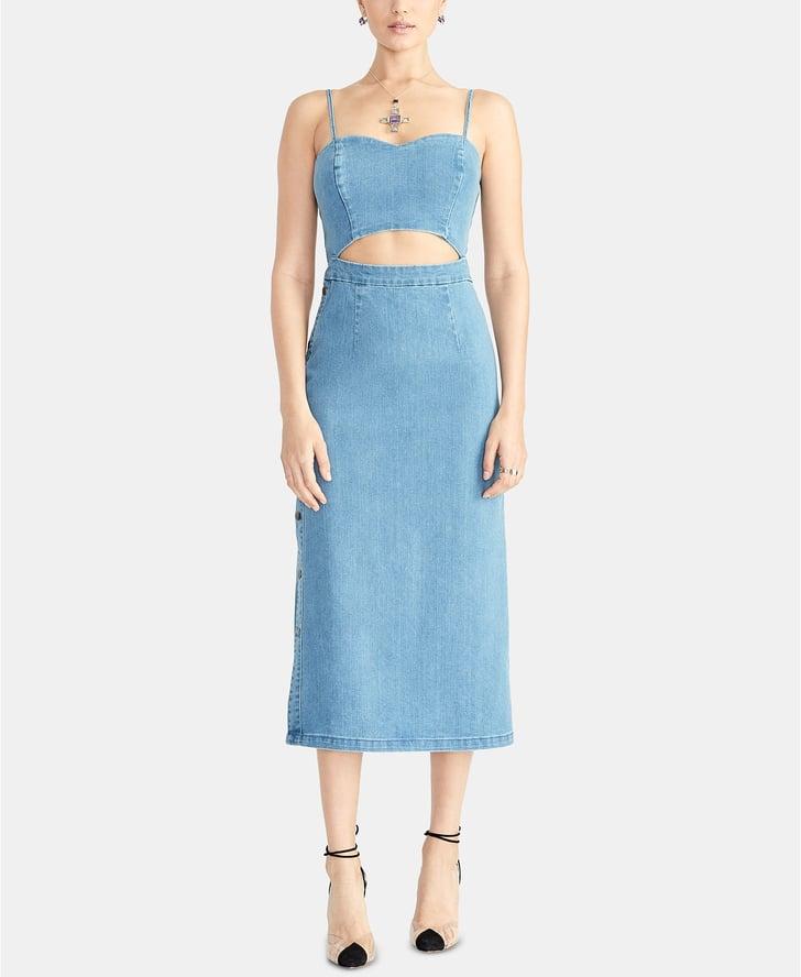 Rachel Roy Discount Gowns: RACHEL Rachel Roy Cutout Denim Midi Dress