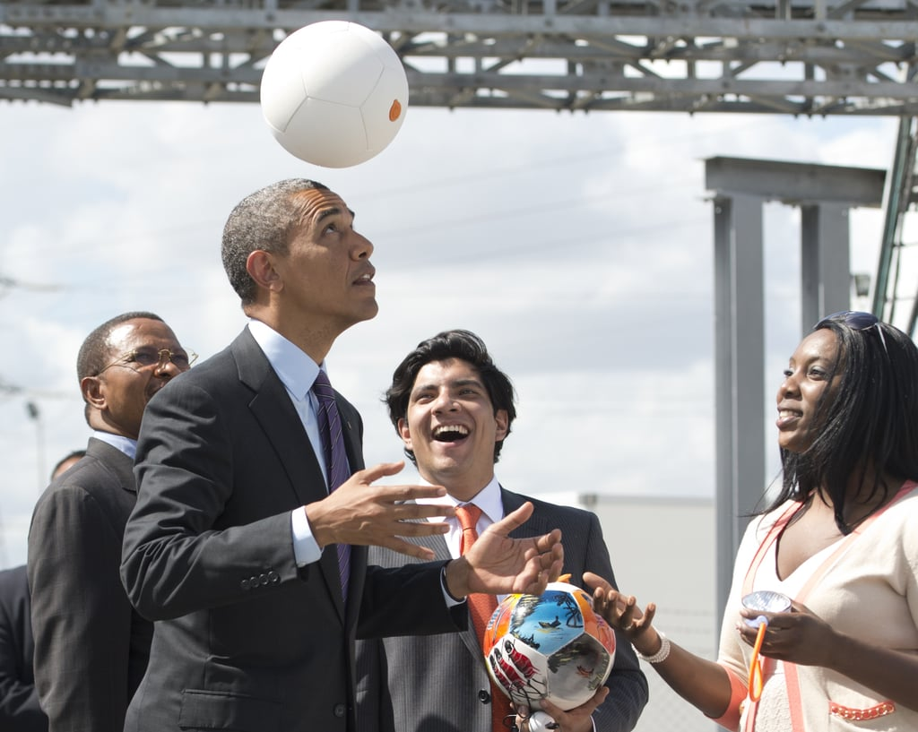 While at the Ubungo Plaza Symbion Power Plant in Tanzania in July 2013, President Obama played with a special soccer ball that captures energy to charge LEDs.