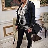 POPSUGAR: You have access to everything when it comes to maternity clothing! What's been your approach to style throughout your pregnancy? Olivia Capone Myers: In the beginning of my pregnancy, I invested in basic maternity wardrobe essentials such as layering tanks, leggings, and Secret Fit Belly jeans. My favorite brands are AG Jeans and Joe's — they're supersoft and have a lot of stretch, which keeps me comfortable throughout the work day. I wear them at least three times a week. Now I've found that more fitted styles and pulling in color and accessories really accentuate my new shape. It's about being resourceful, forgetting the size number in the back of you jeans, and wearing clothes that are flattering, comfortable, and reflect your own personal style. Photo by Bob Myers