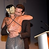 Gaga and Bradley shared a sweet embrace on stage during the premiere of A Star Is Born.