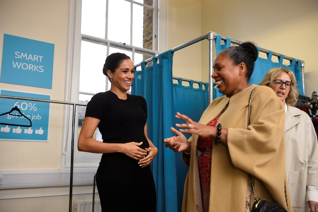 "Meghan Markle might be giving birth to a royal baby this year, but that doesn't mean her schedule is slowing down just yet. Following the announcement on Thursday that Meghan is taking on the role of patron for four charities, she spent the morning visiting one of the organizations, Smart Works, which is a charity that ""helps long-term unemployed and vulnerable women regain the skills, confidence and tools to succeed at job interviews, return to employment and transform their lives.""  This isn't the first time Meghan has visited the charity. Smart Works said ""we have been honored to welcome The Duchess to our West London center and see her engage with our clients and volunteers. Her empathy and insight were obvious."" Not only is support and coaching offered, but the charity goes even further in helping women succeed in the workplace by providing them with high-quality clothes for job interviews. During her visit on Thursday, Meghan joined discussions with volunteers as well as the women who have been successful in finding work, thanks to help from the charity.  Meghan isn't the only patron for the charity. Other patrons include actress, comedian, writer, and producer Jennifer Saunders and fashion designer Betty Jackson CBE, as well as ambassadors including Samantha Cameron and Isabel Spearman OBE. It's safe to say the duchess is in good company. Ahead, get a look at the Duchess of Sussex's first visit as royal patron."