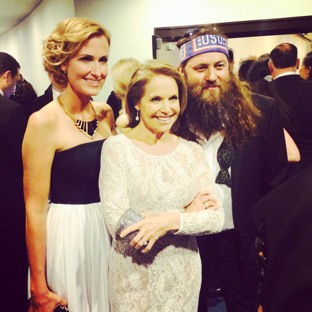 Katie Couric posed with Willie Robertson and his wife, Korie, before heading in to the dinner.