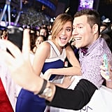 Allison Williams joked around with a fan while snapping a selfie.