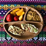 """""""Lunch: Trader Joe's croissants (my son baked these so he actually ate them) with avocado and smoked paprika, sweet potato crackers – made with flaxseed, sesame seed and chia seeds – and chopped mango and strawberries."""""""