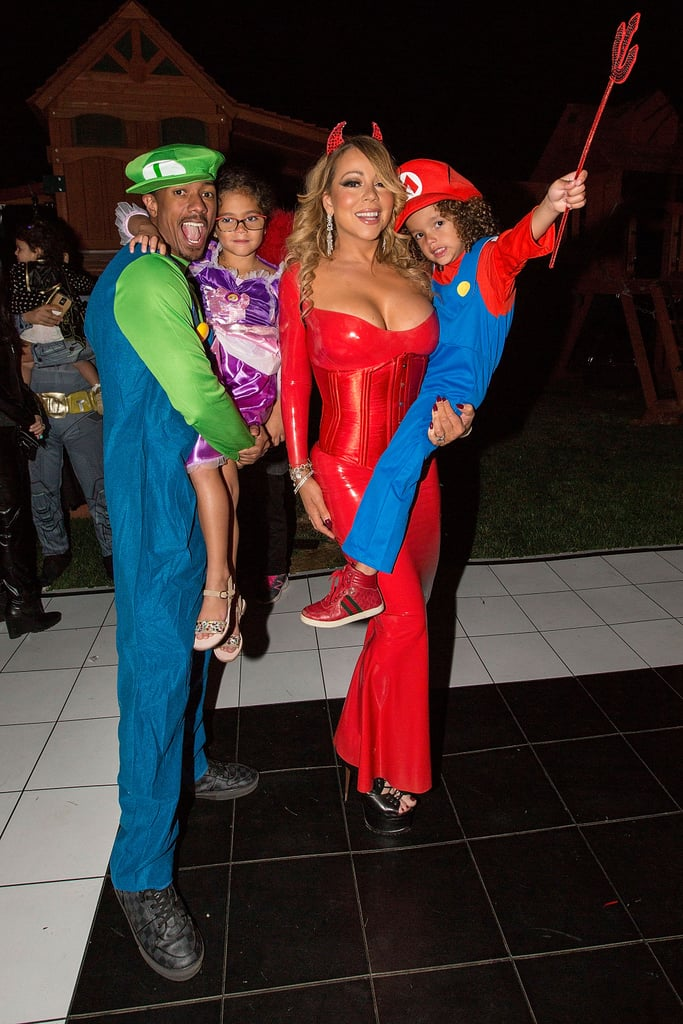 Mariah Carey as a Devil, Monroe Cannon as Rapunzel, and Nick and Moroccan Cannon as Luigi and Mario