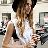 A vintage-feeling hat and edgy jewels to spice up a crisp button-down.