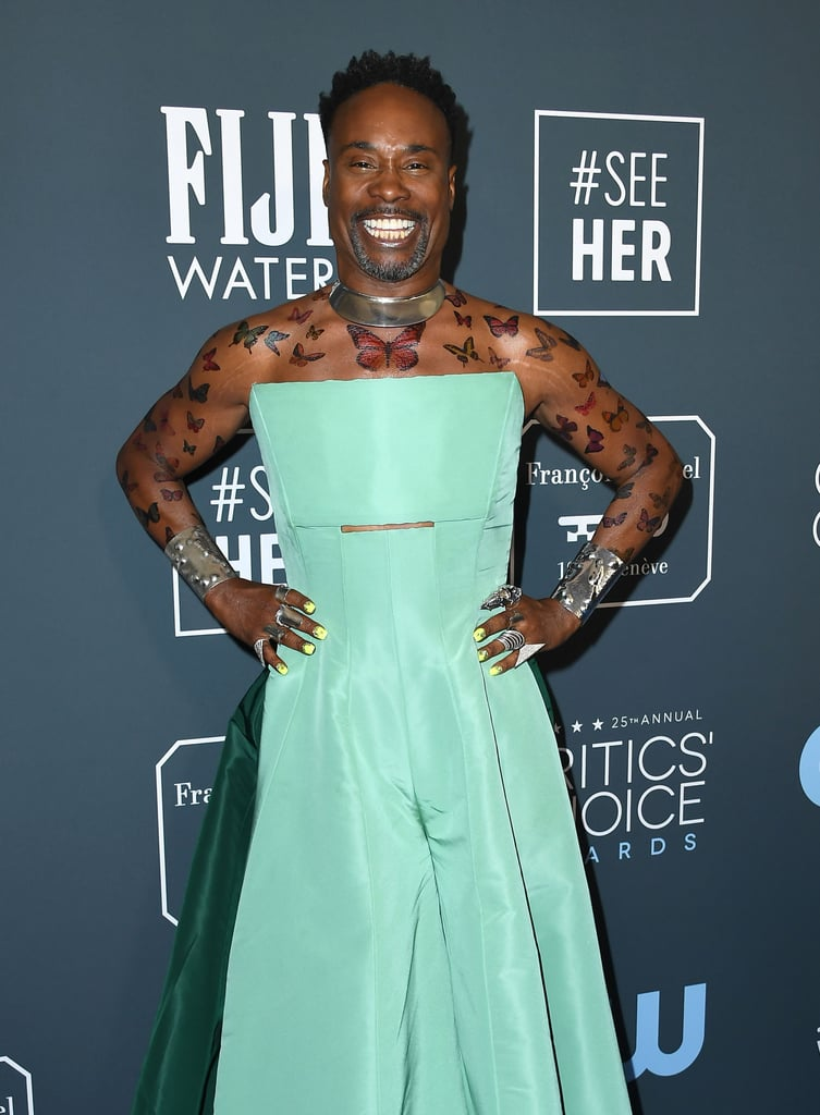 Float like a butterfly, sting on the Critics' Choice Awards red carpet. That's how the quote goes, right? According to Billy Porter, it most definitely is. On Sunday night, the Pose star pulled up to the award show in Santa Monica fluttering, and if we're being honest here, it left us in awe at his unwavering red carpet creativity. Yep, we're talking about those perfectly placed sleeves of temporary butterfly tattoos. From his chest down both his arms, the tattoos paired perfectly with his striking seafoam green dress and silver arm cuffs. It's a big night for Porter as he's nominated for best actor in a drama series for his portrayal as Pray Tell in Pose, and the groundbreaking series is also nominated for best drama series. Keep reading to see photos of Porter's fabulous temporary tattoos, and prepare to be inspired to revive your favourite accessory from back in the day.      Related:                                                                                                           Zoom Into the Best Celebrity Manicures From the 2020 Award Shows
