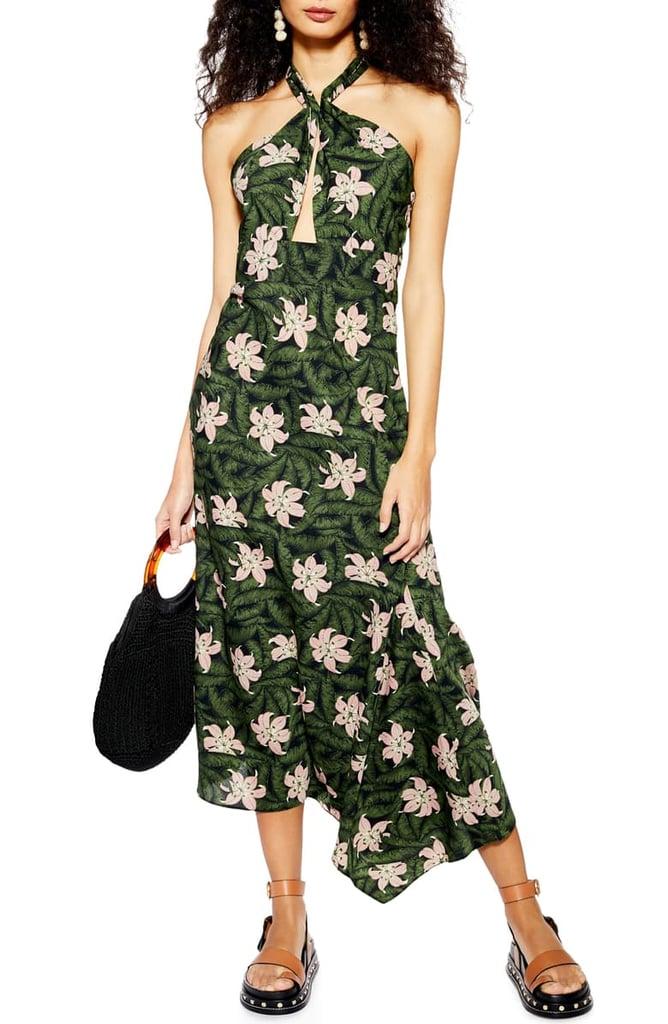 Topshop Hibiscus Halter Midi Dress