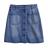 POPSUGAR Button-Front Denim Mini Skirt