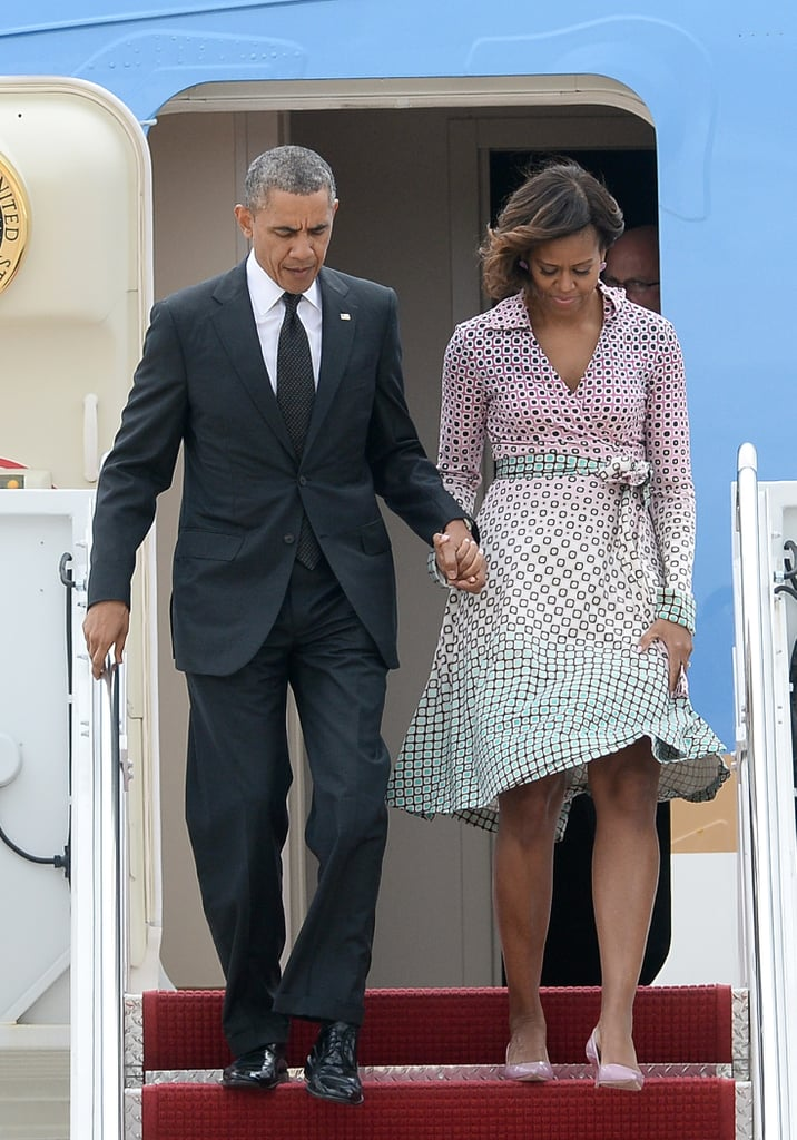 Michelle wearing a pastel DVF printed wrapdress in Maryland.