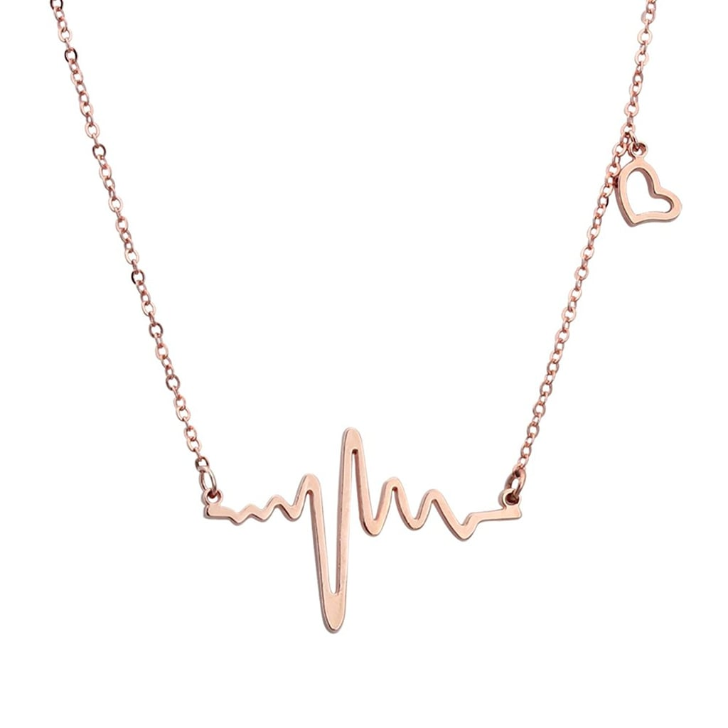 Elbluvf Heart Beat Love Cardiogram Necklace