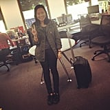 Jess does jetsetter! Wearing Topshop army jacket, black Cons and and H&M tee.