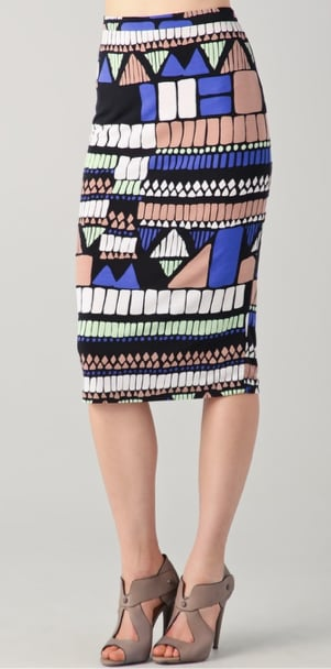 Pretty pastels get mashed up into cool geo-shaped patterns here — and although the hues are daytime appropriate, we think a great pair of lace-up heels and a black crop top would make this a nighttime-perfect skirt too. Tibi Geo Printed Pencil Skirt ($210)