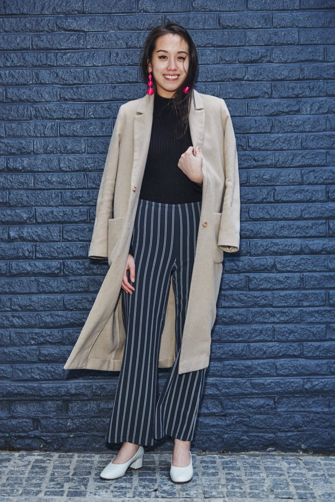 On Assistant Editor Marina Liao: Topshop duster coat, Urban Outfitters pinstripe trousers, Zara heels, and Baublebar earrings
