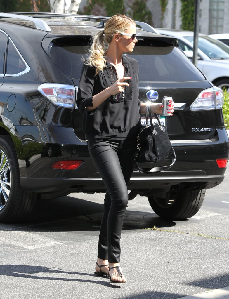 Charlize Theron wore all black in LA.