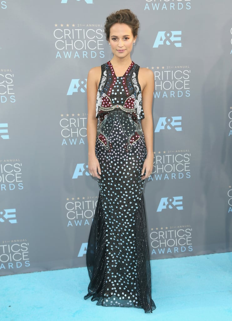 Alicia Vikander in an embellished Mary Katrantzou gown