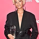 Solange's Platinum Curls at the Billboard Women in Music Awards in 2017