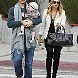 Rodger Berman was on daddy duty with Skyler, while Rachel Zoe held onto a large tote.