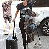 Gigi was spotted in a cozy-cute outfit, which included some stretchy black Tart Collections pants ($141) and a graphic t-shirt.