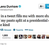 Lena Dunham has issues with Twitter typos.