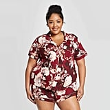 Women's Plus-Size Floral Print Beautifully Soft Notch Collar Pajama Set