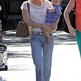 January Jones sported a pair of shades as they walked in Pasadena.