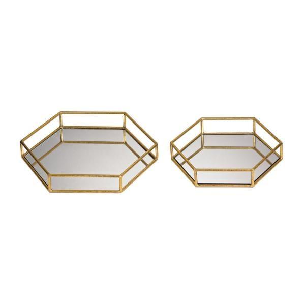 Titan Lighting 14 in. x 12 in. and 11 in. x 10 in. Mirrored Hexagonal