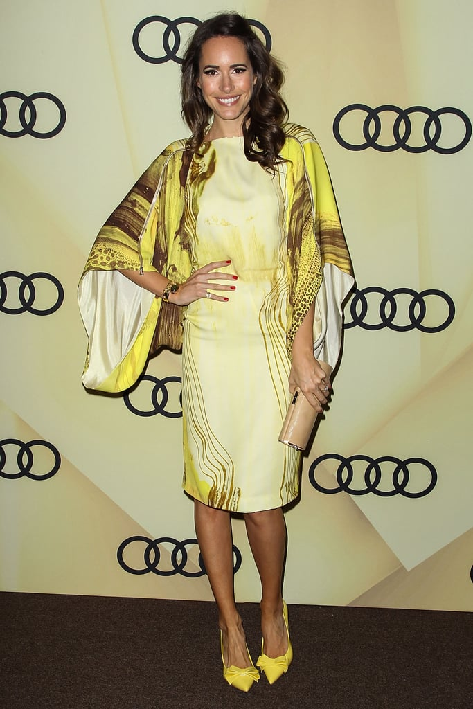 Louise Roe opted for an eye-catching effect by wearing this yellow wide-sleeved Todd Lynn Spring '13 dress. She paired the bright dress with yellow bow-tie Carvela pumps and a nude Jimmy Choo clutch.