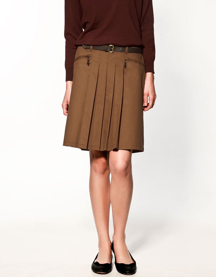 Pleats that you could style up preppy or punky.   Zara Front Pleated Skirt ($40)