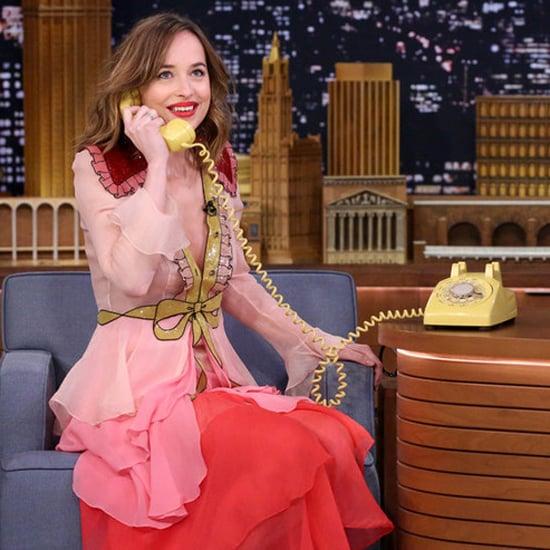 Dakota Johnson Wearing a Gucci Dress on Jimmy Fallon