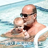 Kelsey Grammer kissed his daughter Faith in the pool in Miami.