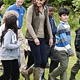 Kate Middleton took a walk with children from Expanding Horizons' primary school outdoor camp.