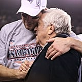 Tom Brady hugged Patriots owner Robert Kraft.