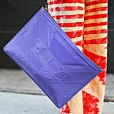 How cute was the old-school mixtape print on this purple clutch?
