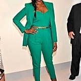 Jennifer Hudson chose an emerald jumpsuit and coordinating blazer for Project Runway's front row.