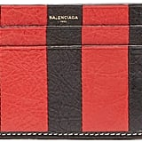 Balenciaga Bazar Striped Leather Cardholder