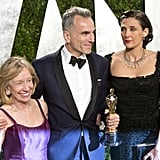 Daniel Day-Lewis posed with his wife at the Vanity Fair party.